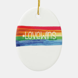 #LoveWins Ceramic Oval Ornament