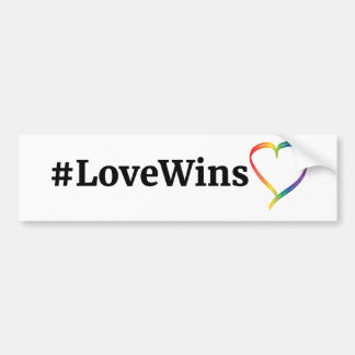 #LoveWins Rainbow Heart Bumper Sticker