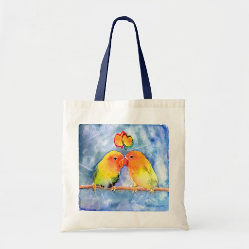Lovey Dovey Lovebirds Tote Bag