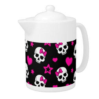 Lovey Goth Skulls in Bright Pink