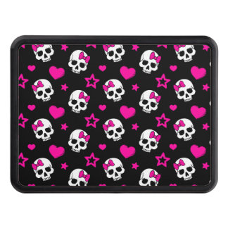 Lovey Goth Skulls in Bright Pink Hitch Cover