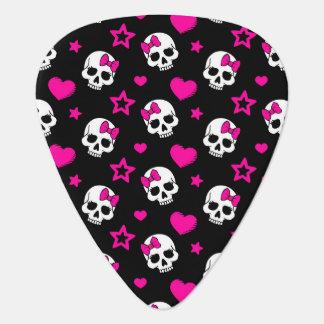 Lovey Goth Skulls in Bright Pink Pick