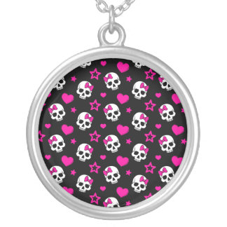 Lovey Goth Skulls in Bright Pink Round Pendant Necklace