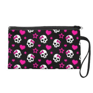Lovey Goth Skulls in Bright Pink Wristlet