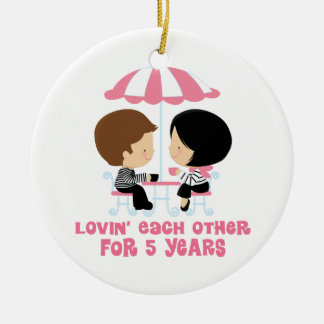Lovin Each Other For 5 Years Anniversary Ceramic Ornament