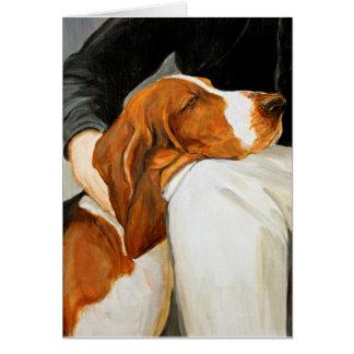 Loving Basset Hound Dog Art Greeting Card