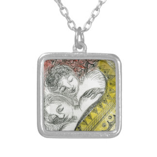 Loving Couple Dreaming Silver Plated Necklace