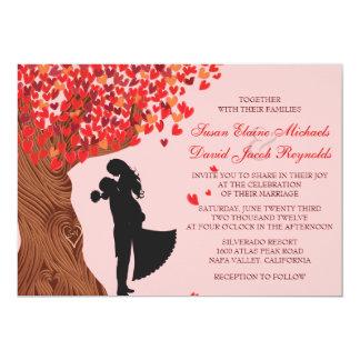 "Loving Couple Initials Oak Tree Fall Wedding 5"" X 7"" Invitation Card"