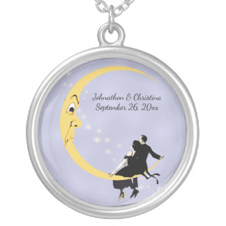 Loving Couple Sitting on Crescent Moon Stars Silver Plated Necklace