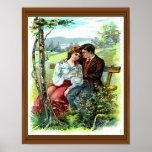 Loving Couple Vintage Hugging Bench Floral Poster