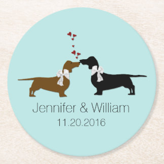 Loving Dachshunds Wedding Paper Coasters