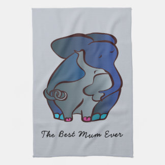 Loving Elephants 4 The best Mum by CraftiesPot Kitchen Towel