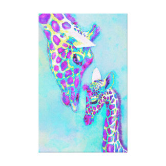 loving giraffes- purple and aqua canvas print