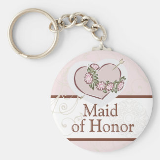 Loving Heart Maid of Honor Wedding Button Keychain