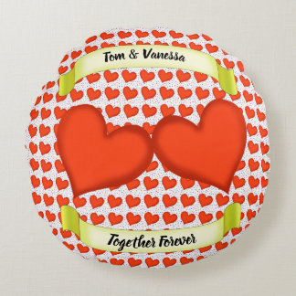Loving Hearts Round Pillow