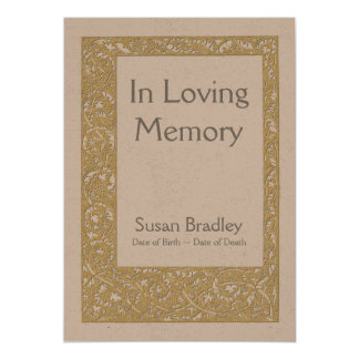 Loving Memory Floral Pattern Funeral Announcement