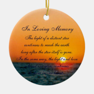 Loving Memory Pastel Ocean Sunset Death Memorial Ceramic Ornament