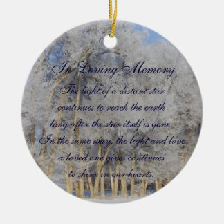 Loving Memory Winter Pogonip Death Memorial Ceramic Ornament