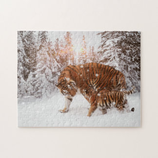 Loving Mother Tiger and Cub Enjoying Snowy Walk Jigsaw Puzzle