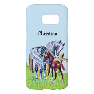 Loving Pastel Colored Mother Horse with Colt Samsung Galaxy S7 Case