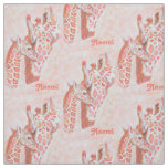 loving peach giraffes personalizable fabric