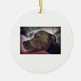Loving Pitbull Eyes Round Ceramic Ornament