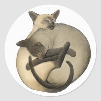 Loving Siamese Cats Classic Round Sticker