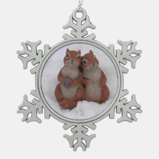 Loving Squrrels in Snow Pewter Ornament/Necklace Pewter Snowflake Ornament