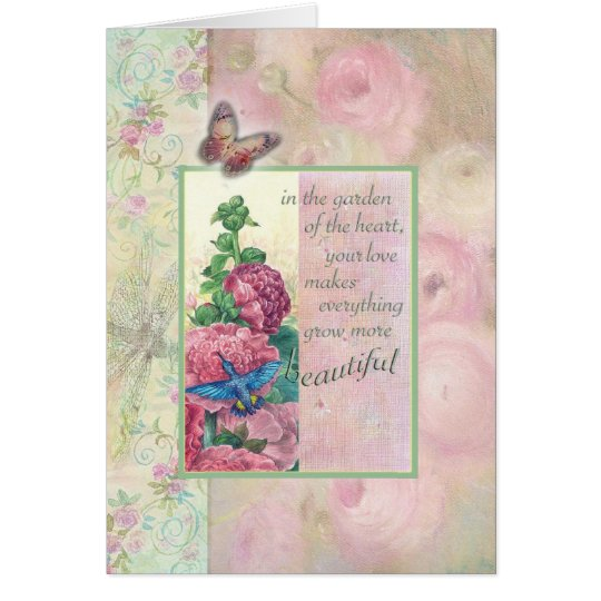 Loving Words for Mom Hummingbird Botanical Card