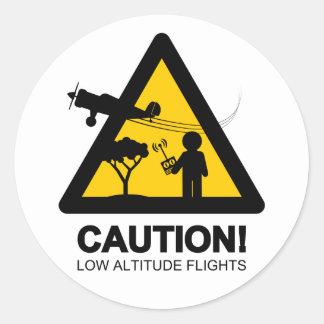 Low altitude flights classic round sticker