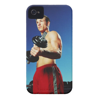 low angle of a man in shorts working out with a iPhone 4 Case-Mate cases