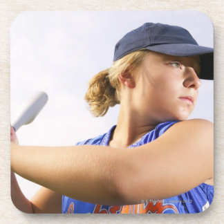 Low angle side view of a softball player looking drink coaster