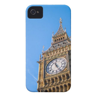 Low Angle View of Clock Tower Against Blue Sky iPhone 4 Cover