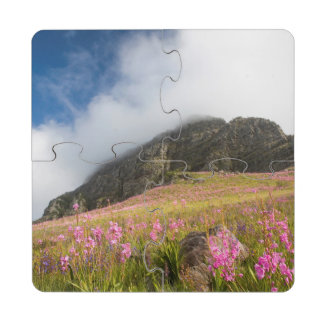 Low Angle View Of Watsonias Against The Slopes Drink Coaster Puzzle