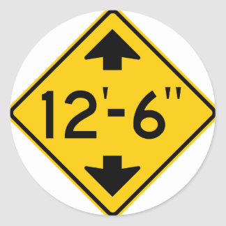 Low Clearance Warning Highway Sign Classic Round Sticker