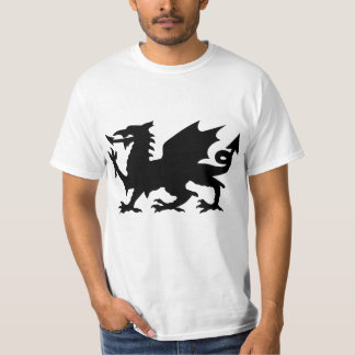 Low Cost Black Winged Wales Dragon Silhouette Tee