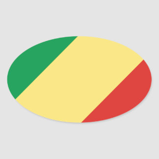 Low Cost! Congo Flag Oval Sticker