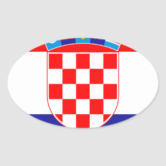 Low Cost! Croatian Flag Oval Sticker