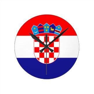 Low Cost! Croatian Flag Round Clock