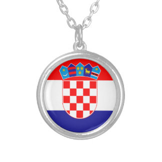Low Cost! Croatian Flag Silver Plated Necklace