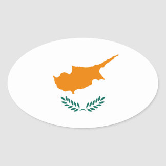 Low Cost! Cyprus Flag Oval Sticker