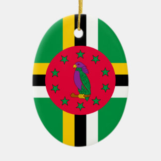 Low Cost! Dominica Flag Ceramic Oval Ornament