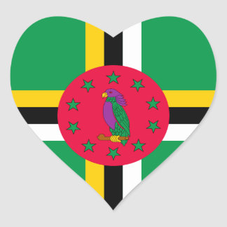 Low Cost! Dominica Flag Heart Sticker