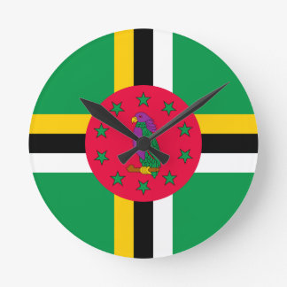 Low Cost! Dominica Flag Round Clock