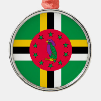 Low Cost! Dominica Flag Silver-Colored Round Ornament
