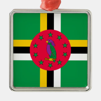Low Cost! Dominica Flag Silver-Colored Square Ornament