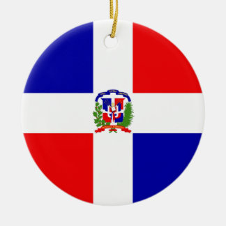 Low Cost! Dominican Republic Round Ceramic Ornament