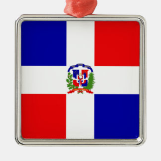 Low Cost! Dominican Republic Silver-Colored Square Ornament