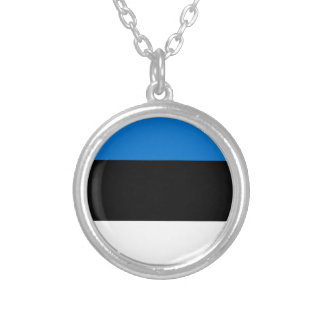 Low Cost! Estonia Flag Silver Plated Necklace