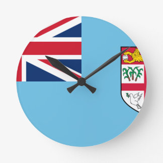 Low Cost! Fiji Flag Round Clock
